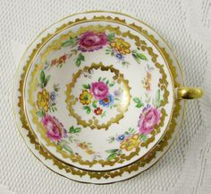 Royal Chelsea Tea Cup and Saucer with Flowers and Gold Decor, Vintage Bone China