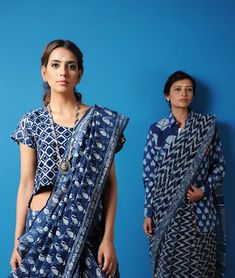 Buy Color Rhymes Curated by Jaypore Natural Dyed, Dabu-printed Kota Doria Cotton… Indian Attire, Indian Wear, Indian Dresses, Indian Outfits, Indigo Saree, Dabu Print, Modern Saree, Trendy Sarees, Indian Fabric
