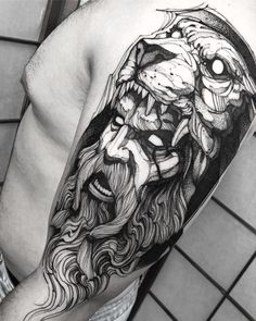 Check out our website for more Tattoo Ideas 👉 positivefox.com #shouldertattoos Tatouage Hercules, Hercules Tattoo, Hades Tattoo, Norse Tattoo, Faith Tattoos, Body Art Tattoos, Sleeve Tattoos, Cool Shoulder Tattoos, Mens Shoulder Tattoo