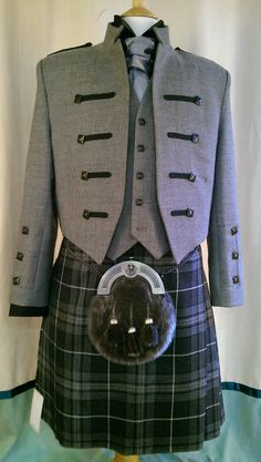 Granite kilt with our own new and exclusive Kyle jacket ~ proving to be very popular for Tartan Clothing, Scottish Clothing, Scottish Fashion, Scottish Dress, Scottish Kilts, Tartan Fashion, Mens Fashion, Fashion Outfits, Green Shoes Outfit