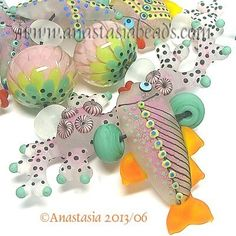 "Anastasia Lampwork Beads 11 ""Pink Reef"" SRA | eBay"