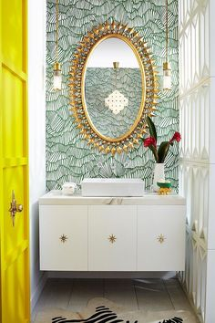 For more quick, quirky design elements, Pulp Design Studios paired our Pop Rectangle Vessel Lavatory and Percy Wall Mounted Vessel Faucet with a custom vanity with starburst pulls and the bold Wellington Mirror by Emporium Home Zebra Wallpaper, Bathroom Wallpaper, Wall Paper Bathroom, Oriental Wallpaper, Powder Room Wallpaper, Office Wallpaper, Glass Bathroom, Green Wallpaper, Downstairs Bathroom
