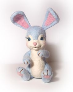 Needle Felted Light Blue Bunny