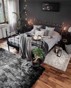 Dark, black, and cozy bedroom interior design. Dark, black, and cozy bedroom interior design. First Apartment Decorating, Apartment Bedroom Decor, Living Room Decor, Bedroom Furniture, First Apartment Bedrooms, Fireplace Furniture, Rustic Apartment, Bedroom Fireplace, Cozy Apartment