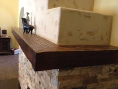 Custom wraparound reclaimed wood mantel in Tudor Brown finish Reclaimed Wood Mantel, Wood Mantels, Fireplace Mantels, Rustic Wood, Mantel Shelf, Wood Accents, Wraparound, Tudor
