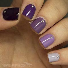 Ombre Purple Nail Design for Short Nails. - Nails Tip Purple Nail Art, Purple Nail Designs, Short Nail Designs, Colorful Nail Designs, Nail Art Designs, Nails Design, Purple Glitter, Purple Ombre Nails, Ombre Color
