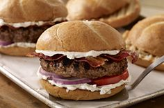 Not a big fan of blue cheese, so here's one for the wife .Bacon & Creamy Blue Cheese Burgers