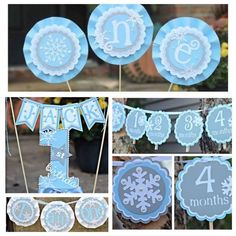 Boy Winter ONEderland / Wonderland First / 1st Birthday Party Decorations.  4-piece.  Blue/gray/silver/white party decor.  Any age. by CharmingTouchParties on Etsy