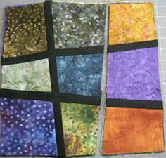 Socks have NO THUMBS!: Stained Glass STACK n' SLASH. Quilt As You Go.