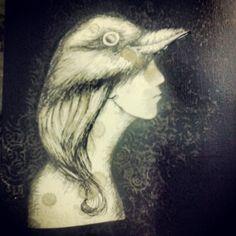 Bird Woman , drawing & papercut  2013