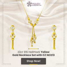 Studded with the highest quality of Cubic Zircon stones, this unique and classy necklace set with gold ball hangings exudes perfection. Bring in the wow factor with this impressive piece of jewellery. Diamond Pendant Necklace, Necklace Set, Dangle Earrings, Gold Necklace, Jewelry Gifts, Jewellery, White Gold Jewelry, Wow Products, Preston