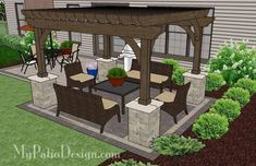 With the Simple and Affordable Brick Patio Design with Pergola you'll enjoy colorful outdoor dining and a shaded seating area. Download layouts and material list.