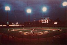 """Night shot of KC Municipal Stadium when the were in KC. American Football League, Major League Baseball Teams, Baseball Park, Baseball Field, Sports Stadium, Pacific Coast, Kansas City, Fields, The Past"