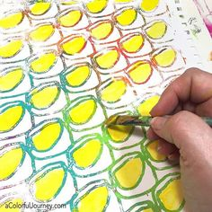 The sun wasn't out nearly enough for me today so I decided to turn this Gelli print into rows of sunshine!  Wonky eye stencil @stencilgirl_products #acolorfuljourney #artplay #stencilgirl @gelliarts #gelliprinting #artjournaling #paintmakesmehappy