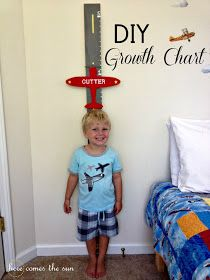 How to Create a DIY Airplane Growth Chart . think you can build one of these in neutral tones? Baby Room Diy, Baby Boy Rooms, Baby Boy Nurseries, Diy Baby, Baby Boys, Boys Growth Chart, Growth Charts, Airplane Bedroom, Airplane Baby Room
