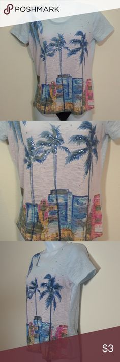 """ONQUE PETITE SEQUINED PALM TREE CITY TEE See my other cute items**  size petite medium, 60% cotton, 40% polyester, bust 17"""" across, length 22"""". ONQUE Petite Tops Tees - Short Sleeve"""