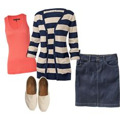 Coral and navy, created by ejt1619 on Polyvore ~ Love the cardigan! I would wear a full tshirt underneath it , and a longer denim skirt.