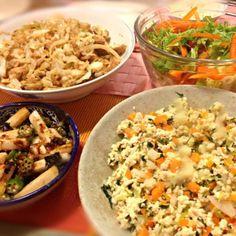 かなり久々に作った〜 - 6件のもぐもぐ - 鶏挽炒り豆腐、厚揚とキャベツの和風煮、オクラと長芋のおかか和え、サラダ by junya
