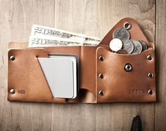 Thin Leather Wallet, Mens Leather Wallet, Minimal Wallet, Thin wallet, front…