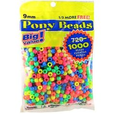 Darice Pony Bead Big Value Pack Neon Multicolor 1000 count