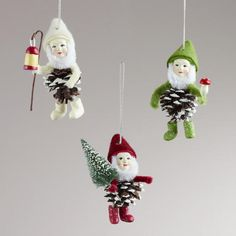 WorldMarket.com: Pinecone Gnome Ornaments, Set of 3
