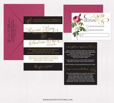 Perfect For A Kate Spade Inspired Wedding! Metallic Gold Foil Invitations  Modern Rose Black White