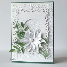 love, life and crafts Rudlis: Kobieta zmienna jest. --- Christmas Card. Poppy Stamps dies White on White Card. --- White-on-White #WhiteOnWhite White on White --- with a little bit of green leaves for a pop of color