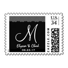 Gray  Lace Black White Wedding Monogram G920 Stamps #wedding #stamps #love #marriage #romance #bride #groom #jaclinart #love #postage #gray #lace #black #white #monogram