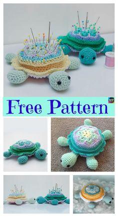 Cute Crochet Turtle Pincushion – Free Pattern #freecrochetpatterns #turtle #pincushion #crochetanimal