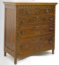 Profusely painted the rare circa 1830 pine chest of drawers reached 80000