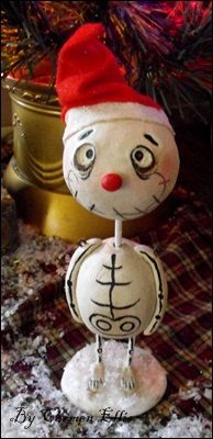 Skelly snow guy with hat Christmas art doll made by SpookyHollow, $35.00