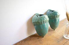 Vintage Frankoma Acorn Wall Pocket Vases Aqua Green Ada Clay