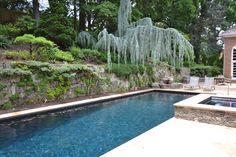 Pebble Fina Sapphire Galaxy, Mclean, Virginia, Sheer Descent, Waterfall, Raised Spa, Rectangle Pool