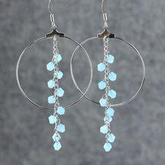 Teal large long chandelier hoop earrings handmade by AniDesignsllc, $12.95