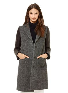 BABATON DAMON WOOL COAT - Meticulously tailored from a luxurious combination of Italian tweed and lambskin leather