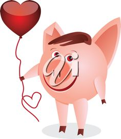 iCLIPART - Little pig with a red heart birthday balloon cartoon