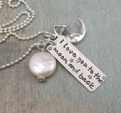 Hand Stamped Necklace - Personalized Necklace - I Love You to the Moon and Back