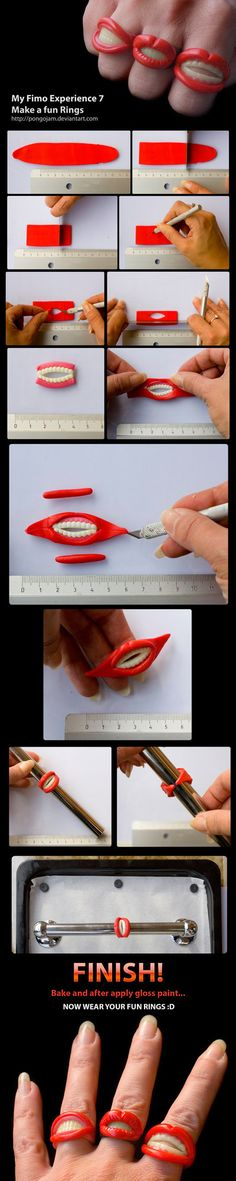 Fimo Fun Rings Tutorial by *pongojam They look like Rocky Horror Picture Show rings! Schmeeeee!