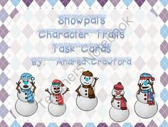 Snowpals Character Traits Task cards from Reading Toward the Stars on TeachersNotebook.com (8 pages)  - Character analysis task cards featuring snowpals from Snowville.