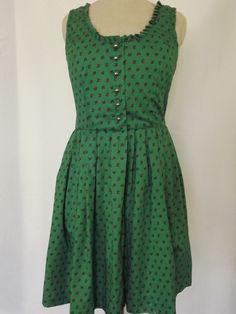 Vintage Sleeveless Green Dress with Fuschia Flowers by PetitjoyVintage