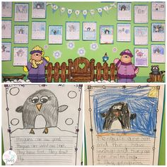 Five for Fraturday - Penguin directed drawing on bulletin board - A Teeny Tiny Teacher