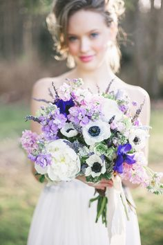 dusty lavender, lilac, white, and royal purple #bouquet