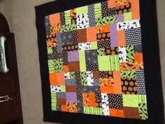 Halloween quilt made with Yellow Brick Road pattern.