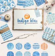 Hand-crafted illustrations bundle! TONS of Watercolor designs included like these beautiful indigo blue seamless pattern watercolor graphics. Full licensing included. Grab yours before it's gone! ikat herringbone triangles tribal boho chic zigzag brush strokes