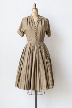 Vintage 1950s field tan cotton shirt dress | Field Basics Dress