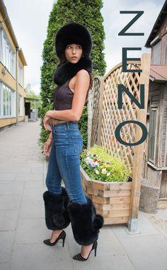 Finn Fox Fur Legs Cuffs Jet Black Boots Bands Legs Sleeves