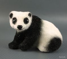 #Wagner #Panda Wool Flocked Bear 1960s Kunstlerschutz Putz 1.75 inch Germany Vintage