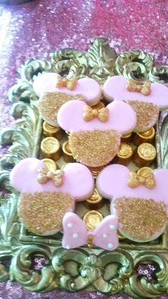 Glittery cookies at a royal Minnie Mouse birthday party! See more party planning ideas at CatchMyParty.com!