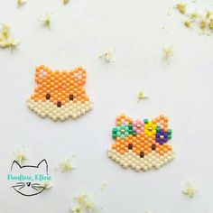This Pin was discovered by Mar Peyote Stitch Patterns, Hama Beads Patterns, Seed Bead Patterns, Beading Patterns, Perler Bead Designs, Miyuki Beads, Art Perle, Iron Beads, Beaded Animals