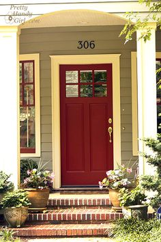 Red front door (color is Wild Currant by Benjamin Moore).to our front door. Exterior Paint Colors, Exterior House Colors, Paint Colors For Home, Exterior Design, Paint Colours, Pintura Exterior, Front Door Colors, Colored Front Doors, Colored Door